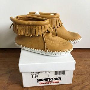 Minnetonka Leather Soft Sole Bootie Moccasins
